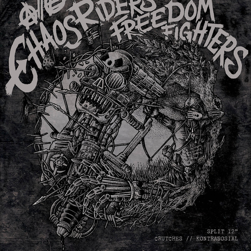 Crutches / Kontrasosial, Chaos Riders // Freedom Fighters split LP BROWN GREEN VINYL